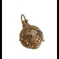 Cage à bola ronde aux étoiles en métal doré 35x26mm