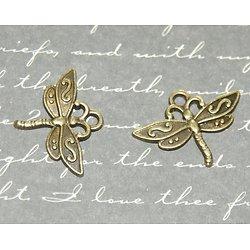 2 breloques libellule en métal couleur bronze 17x23mm