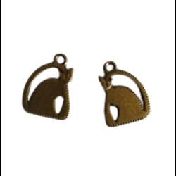 2 breloques chat moderne en métal couleur bronze 17x23mm