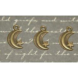 3 breloques lune et étoile en métal couleur bronze 9x17mm