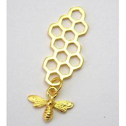 Grande breloque / pendentif rayons de miel et son abeille en métal doré 46x16mm