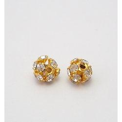 Perle dorée à strass transparents 6,5mm