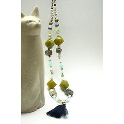 """Collier Sautoir """"Verte Toundra de mes rêves"""" -  Sautoir en métal bronze, perles de jade, opale, kyanite, pyrite et aigue-marine"""
