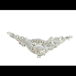 Coeur de collier arabesques en métal argenté 77x45mm