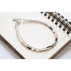 """Bracelet double et fin """"Nagano"""", bracelet blanc, argent, noir et rose à l'étoile"""