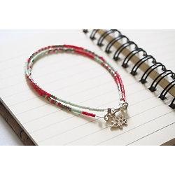 """Bracelet double et fin """"Nagano"""", bracelet rose et menthe à l'hérisson"""