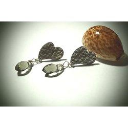 """Boucles d'oreille coeur """"Toi mon amour"""" en plaqué argent et cristal, boucles d'oreille percées puces femme"""