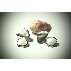 """Boucles d'oreille nuage """"La tête sur mon nuage"""" en plaqué argent et cristal blanc, boucles d'oreille percées"""