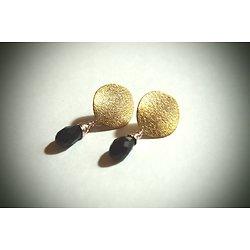 """Boucles d'oreille clous dorés """"Piastre or et noir"""", bijou féminin design"""