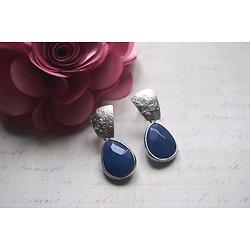 """Boucles d'oreille """"Moctezuma d'argent"""", boucles d'oreille en rhodium mat argenté et cristal, bijou élégant et féminin"""