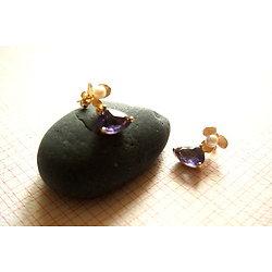 """Boucles d'oreille """"Douceur des violettes de mon enfance"""", bijou en plaqué or 14k et cristal élégant pour femme"""