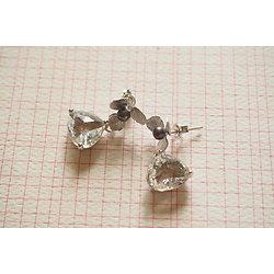 """Boucles d'oreille courtes """"Diamond"""", boucles d'oreille clous en plaqué argent, perle d'eau douce et cristal, bijou chic"""