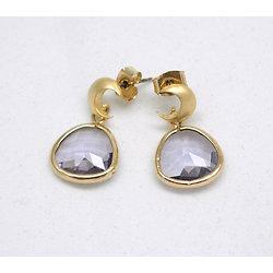 """Boucles d'oreille clous en plaqué or et cristal """"La tête dans la lune"""""""