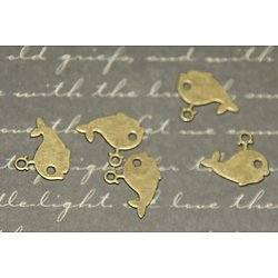 10 mini breloques baleine en métal couleur bronze 12x14mm