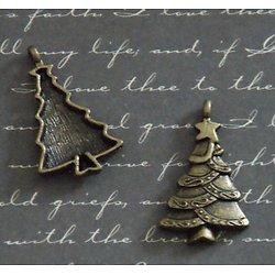 2 breloques sapin de Noël en métal couleur bronze 18x29mm