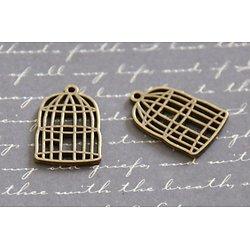 2 breloques cages à oiseau en métal couleur bronze 23x17mm