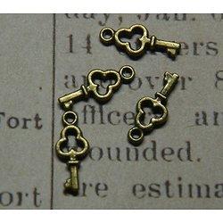 5 mini breloques clé en métal couleur bronze 16x6mm