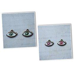 2 breloques oeil en émail et métal couleur bronze 16x13x2mm