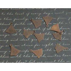 10 breloques éventail en métal couleur cuivre 15x17mm