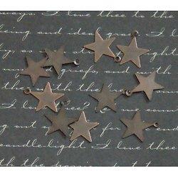 10 breloques étoile en métal couleur cuivre 13x16mm