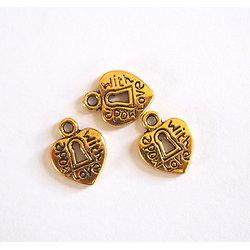 "3 mini breloques coeur ""Made with love"" et serrure en métal doré 12x10mm"