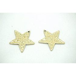 2 breloques étoile martelée en métal doré vieilli 25mm
