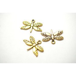 3 breloques libellule en métal doré 20x15mm