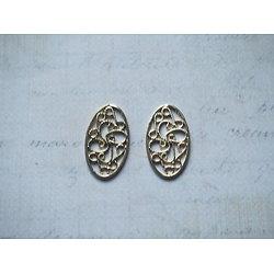 2 breloques estampe médaillon ovale ajouré en métal doré 22x13mm