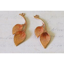 2 breloques feuilles en métal rose doré vintage 40x14mm
