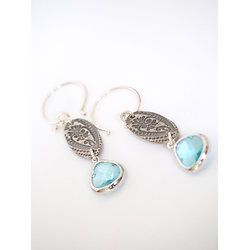 """Boucles d'oreille """"Feuillage d'eau"""" en argent 925 et cristal bleu, bijou tendance et country, bijou pour femme"""