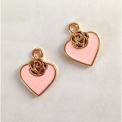 2 breloques coeur émaillé rose et fleur en métal argenté 14x17mm