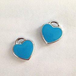 2 breloques coeur émaillé turquoise et métal argenté 11x12mm