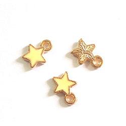 2 breloques étoile émaillée et métal doré 9x7mm