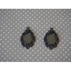 2 breloques médaillon ovale et noir pour cabochon 30x19mm
