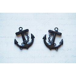 2 breloques ancre marine en métal émaillé noir 29x26x4mm
