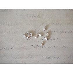 25 perles longues en argent 925/1000 - 2x4mm