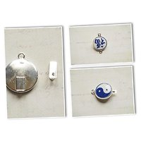 Fermoir à clipser en argent 925/1000 et porcelaine bleu et blanche, thème chinois 25x16mm