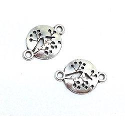 2 breloques / connecteurs ronds oiseaux/végétaux évidés en métal argenté 23x16mm