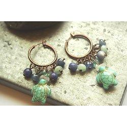 """Boucles d'oreille créoles """"Juanita Banana"""", créoles en cuivre et pierres assorties bleues"""