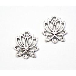 3 connecteurs fleur de lotus en métal argenté 15x16mm