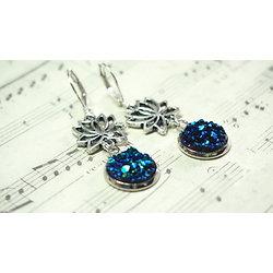 Boucles d'oreille Poussière d'étoile bleu
