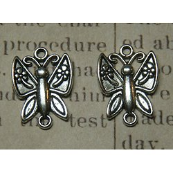 2 connecteurs papillon en métal argenté 23x17mm