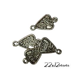 2 connecteurs triangle et dessins ethniques en métal argenté 22x12mm