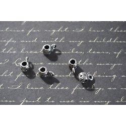 5 mini bélières pour cuir ou cordon en métal argenté et étoiles