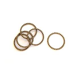 5 anneaux fermés torsadés en métal couleur bronze 25mm