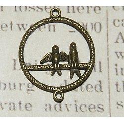 Connecteur oiseaux en métal couleur bronze 34x27mm