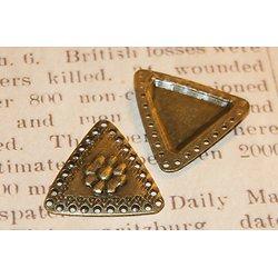 2 connecteurs triangle et fleur en métal couleur bronze 31x30mm