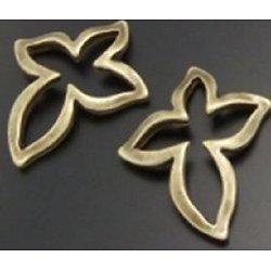 4 connecteurs croix évidée en métal couleur bronze 21x18mm