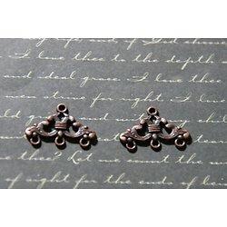 2 connecteurs à volutes en métal couleur cuivre 16x24mm
