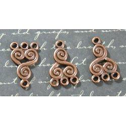 3 connecteurs triskel en métal couleur cuivre 21x13mm